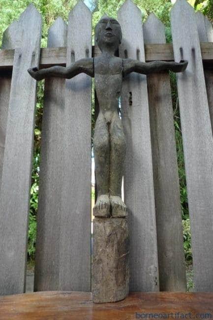 ANTIQUE DAYAK 860mm BAHAU STATUE Patung Dyak Primitive Figure Sculpture Borneo