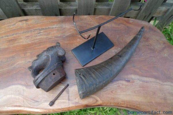 NAGA MORSARANG 320mm OLD HORN CONTAINER Statue Chamber Sculpture Figure BATAK