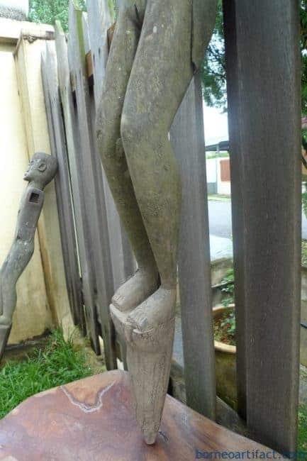 TWO GIANT STATUE 1280 & 1480mm MALE & FEMALE DAYAK Figure Sculpture Borneo Dyak