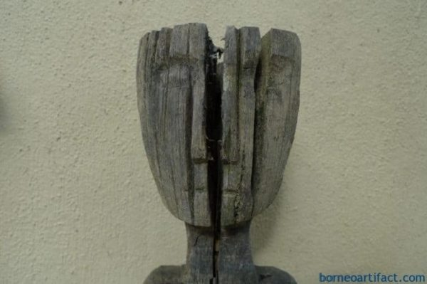 EXTREMELY AGED 850mm FEMALE WITH BREAST GUARDIAN STATUE Authentic Dayak Borneo