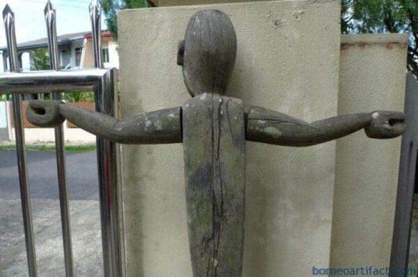 HUMAN SIZE 1660mm GUARDIAN STATUE Eroded Outdoor Dayak Figure Sculpture RARE