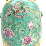 GREEN 330mm COVERED JAR Kamcheng Phoenix Nyonya Porcelain Pot Vase Pottery #4
