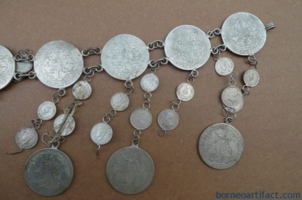 VINTAGE SILVER COIN 800mm BELT (Oldest Coin 1899) Sterling Jewel Jewelry Borneo
