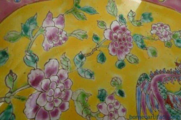 YELLOW 8-lobbed PERANAKAN TRAY Nyonya Plate Dish Bowl Dining Wedding Chinese