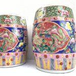 GORGEOUS NYONYA Stool BLUE PAIR Chair Bench Phoenix Peonies Chinese Porcelain