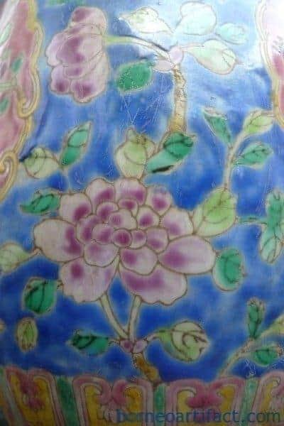 TALL COVERED JAR Kamcheng Style Nonya Nyonya Porcelain Pot Vase Pottery Asia