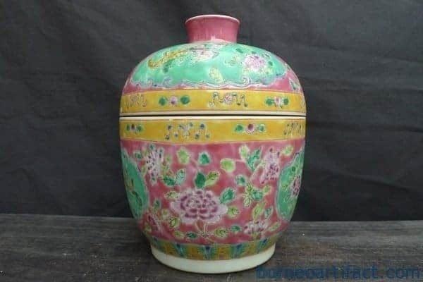 BLUE INTERIOR PINK EXTERIOR Chupu Nyonya Covered Jar Kamcheng Kam cheng Pot