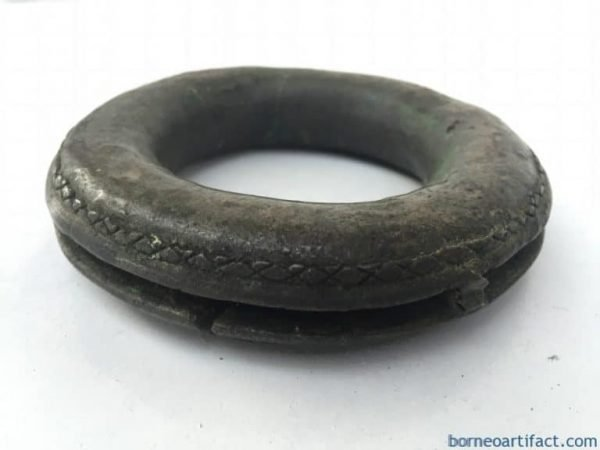 #4 SOLID BRONZE BRACELET Authentic Antique Dayak Girl Jewelry Bangle Ornament