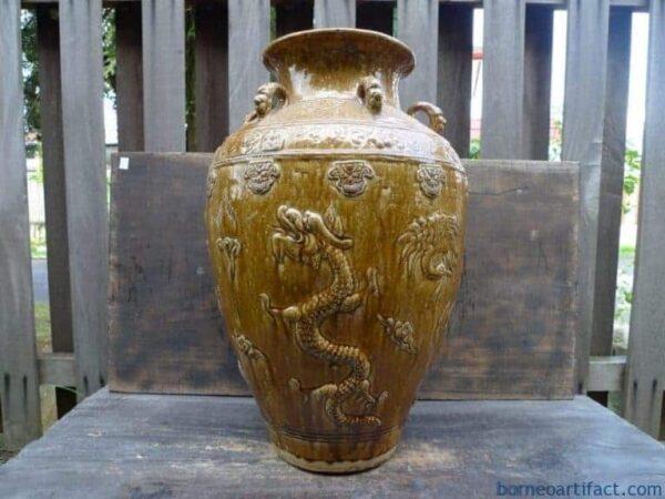 FOUR NAGA/DRAGON Antique Authentic (16-19cen) Ching Dynasty JAR VASE POT POTTERY