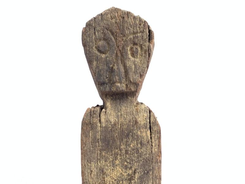 WEATHERED GUARDIAN STATUE Ancestral Eroded Pole Figure Image Icon Hardwood #13