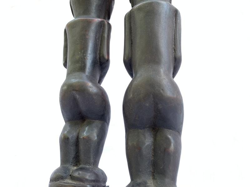 MALE & FEMALE 390mm BATAK WARRIOR STATUE Ancestral Facial Sculpture Indonesia