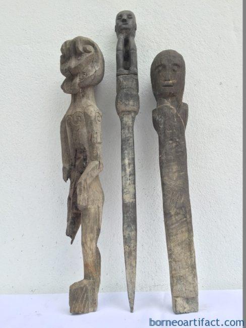 JUNGLE GUARDIAN POLE & ERODED STATUE Authentic Dayak Primitive Figure Borneo