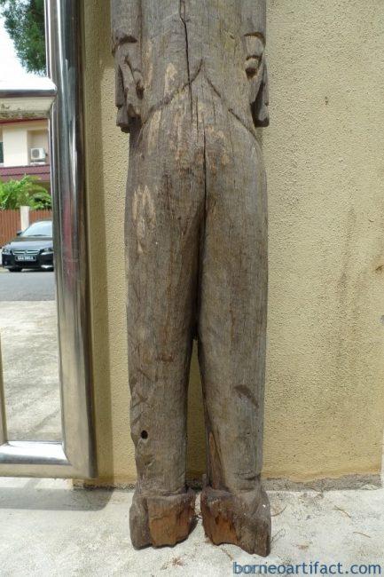 DAYAK KALTENG 1400mm TRAPOK HAT STATUE Eroded Figure Sculpture Art IRONWOOD WOOD