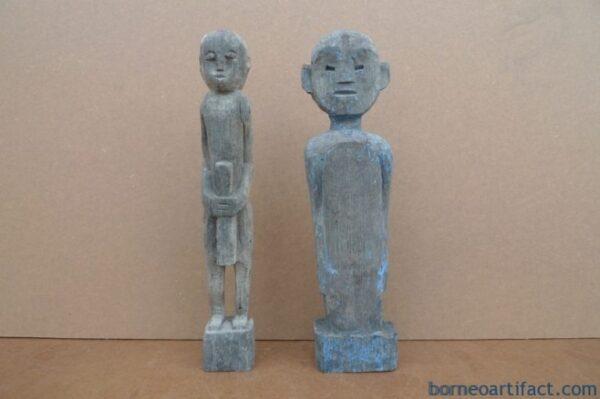 AUTHENTIC DAYAK AGED 290mm SCULPTURE STATUE Dyak Kebayan Antique Figure IRONWOOD