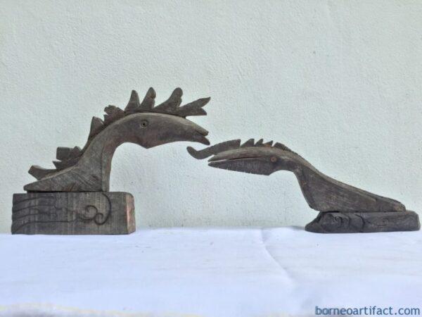 ANTIQUE DRAGON FIGURE (1 Pair M&F) Sculpture Statue Home Bar Pub Gift Christmas