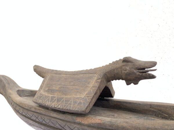 SERPENT BOAT 20.5 OLD TRIBAL VESSEL Statue Sculpture Figure Tribal Asia Asian