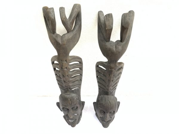 TWO LETI STATUE Wooden Sculpture Figure Icon Image Skull Skeleton Interior Home