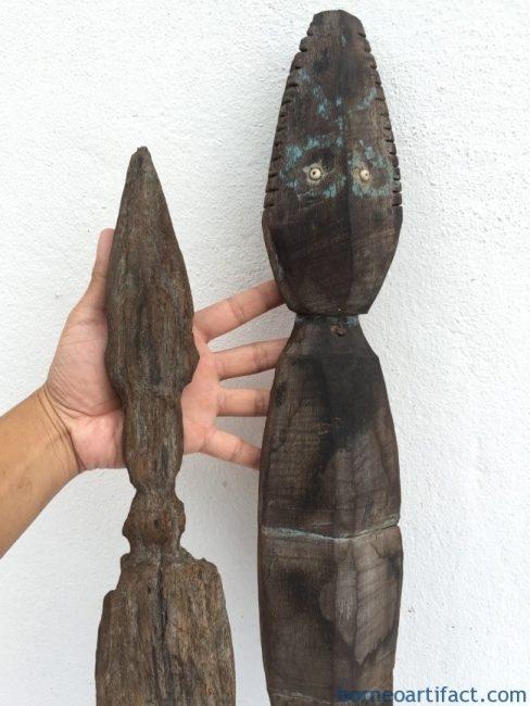 TONGGOK DAYAK 850mm POLE Crocodile Spiritual Guardian Reptile Animal Sculpture Icon
