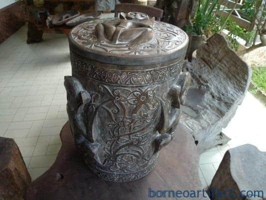 XXXXXXL 560mm DAYAK RICE CONTAINER Box Chamber Jar Pot Statue Carving Sculpture