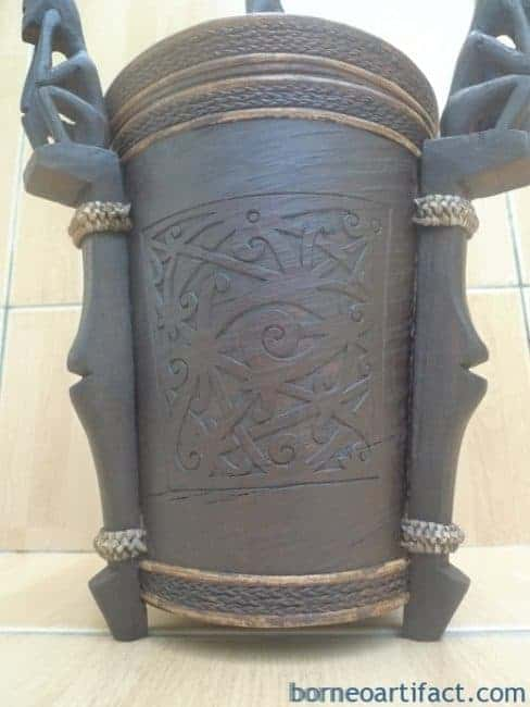 6.) TALL LUPONG CONTAINER 320mm DAYAK DYAK BOX Medicine Statue Artifact Borneo