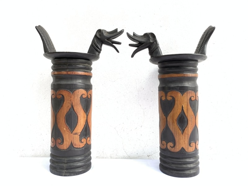 ONE PAIR NIAS BAMBOO BOTTLE 425mm Container Carrier Jewel Box Sculpture Artifact