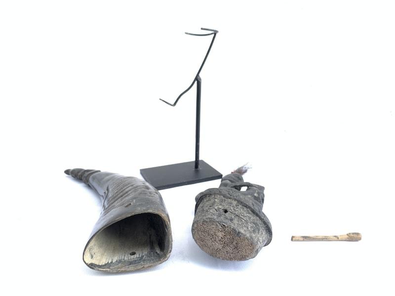 #3 LARGE BATAK CHAMBER 380mm HORN GANA-GANA Statue Sculpture Figure Artifact Art