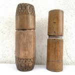 ONE PAIR 150mm BETEL NUT BAMBOO CONTAINER Medicine Jewelry Jewel Box Chamber Old
