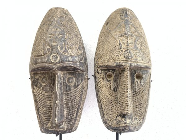 TWO TRIBAL MASK 20.9 ON STAND Nias Face Sculpture Figure Statue South East Asia