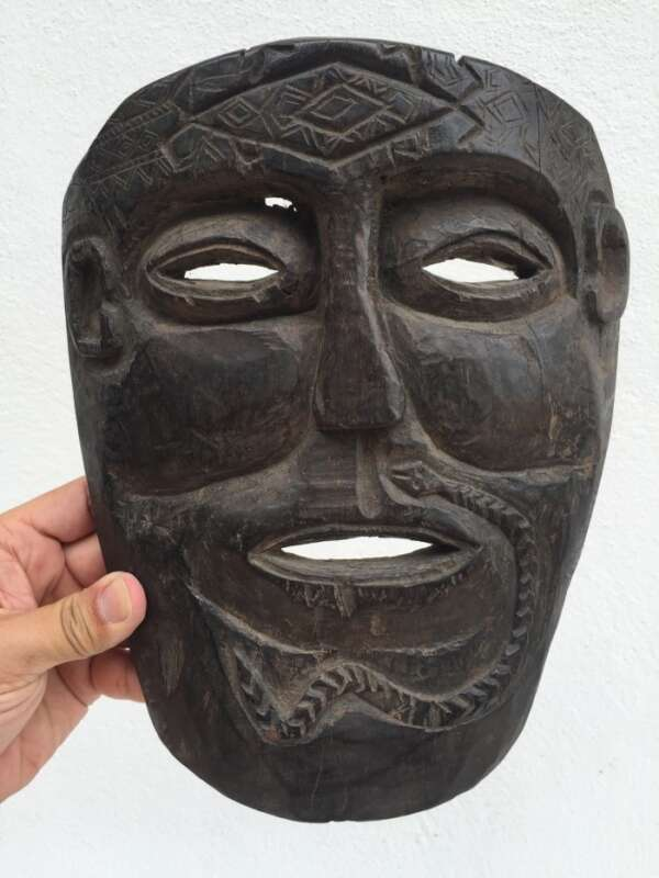 TUKUDEDE Timor-Leste 9.8 TRIBAL MASK Facial Artifact Native Artefact IRONWOOD