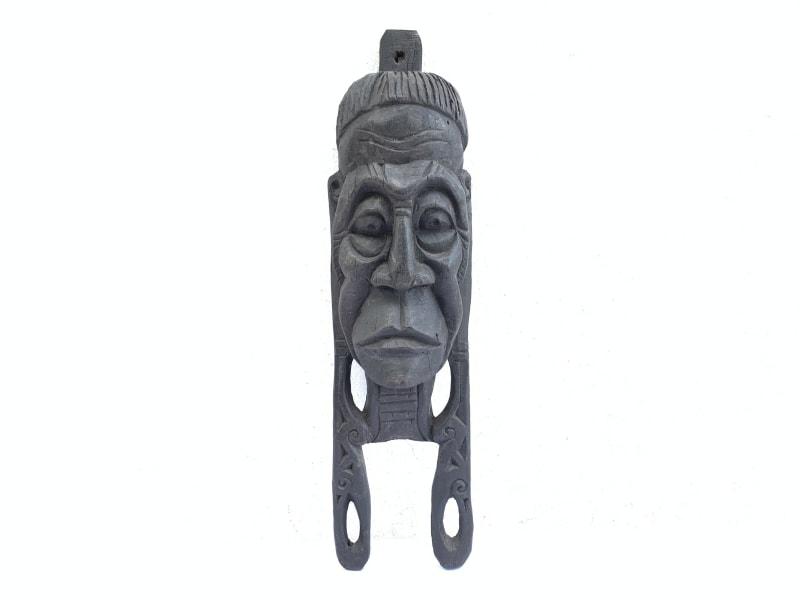 aged old sculpture / mask 490mm ironwood penan nomadic face borneo wall bar pub