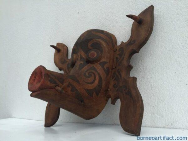 #1 BORNEO PIG MASK Facial Face Image Home Bar Sculpture Craft TOPENG HUDOG DAYAK