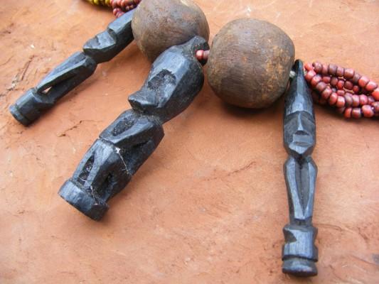 #1 BIDAYUH ELDERS NECKLACE Beads & Ironwood Statue Figure Statue Pendant Jewelry