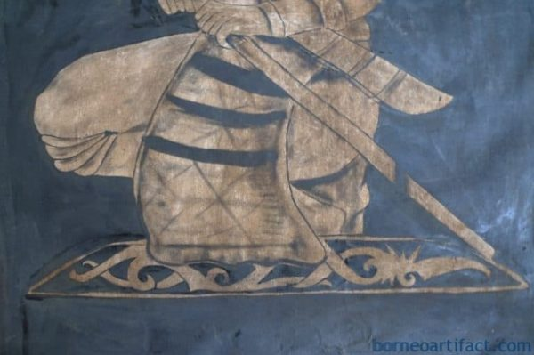 #4 OIL PAINTING: 1400 x 900mm DAYAK HUNTER FIGURE Sculpture Drawing Wall Sarawak