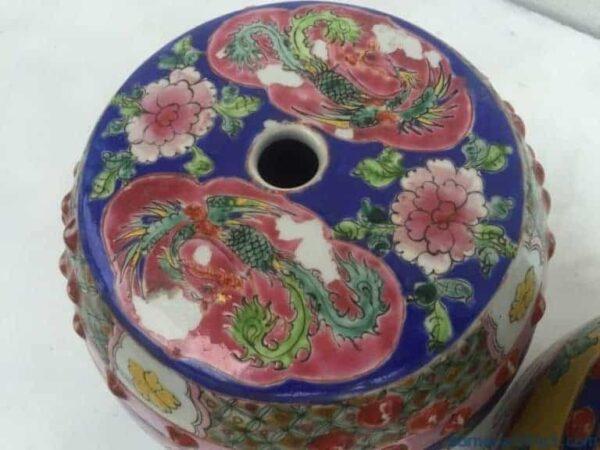ONE PAIR Nyonya Stool 200mm Chair Bench Phoenix Chinese Porcelain Furniture