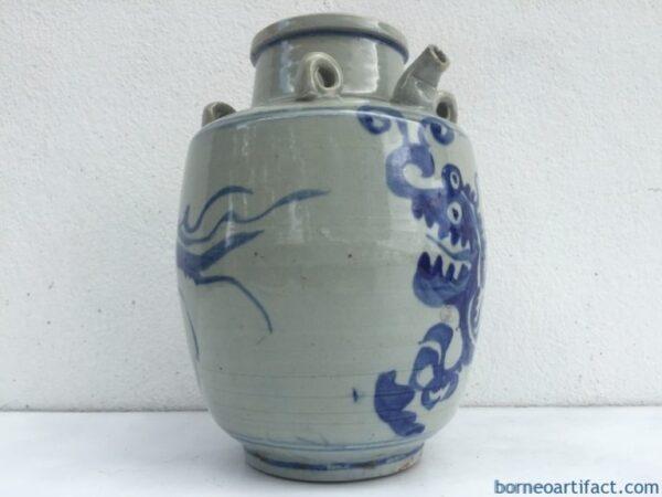 BLUE NAGA JAR 240mm Qing Dynasty (1644-1912) Alcohol Pot Pitcher Pourer Kettle