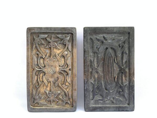 TATTOO INK BLOCK (One Pair xL) Ironwood Tribal Body Piercing Stamp Chop Sculpture Statue Handmade Artwork