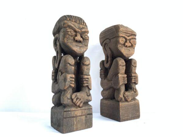 SCULPTURE ART 170mm DAYAK BAHAU Miniature Statue Human People Figure Asia Tribe