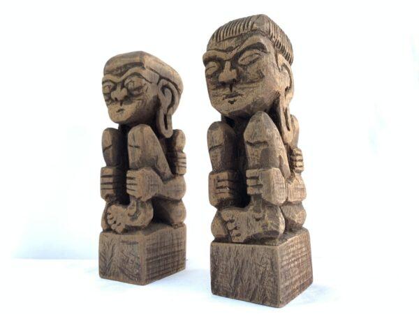TRIBAL ART 170mm DAYAK BAHAU Statue Human People Figure Sculpture Native Asia