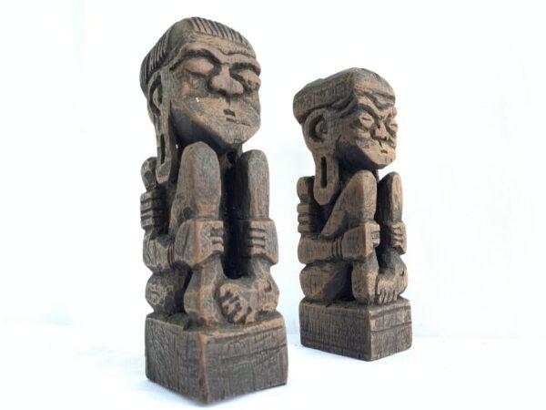 HANDMADE STATUE 170mm DAYAK Bahau Human Art People Figure Figurine Sculpture Paperweight Tribal Tribe