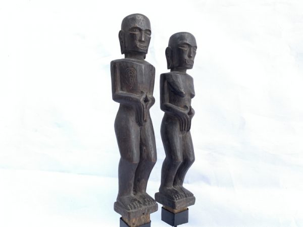BATAK COUPLE 210mm STATUE ARTIFACT Ancestral Facial Sculpture Tribal Indonesia