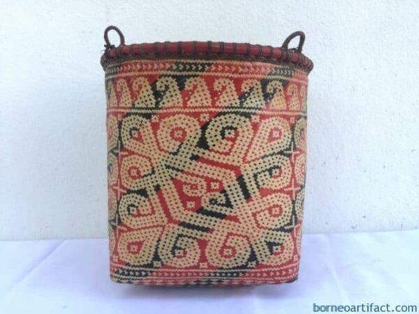 TRIBAL WOVEN 235mm BASKET Weaving Bakul Handmade Container Box Bowl Storage Native Asia Borneo Dayak