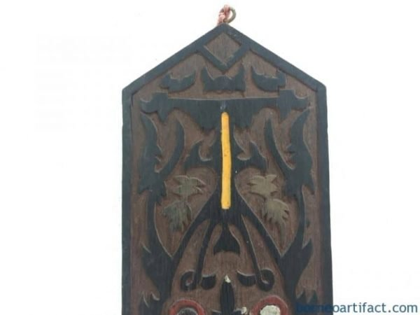 TRIBAL PANEL 3-Dimensional Dayak Shield Anthropomorphic Figure Statue Wood Carving Wall Deco