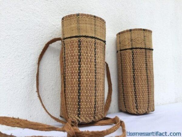 one pair 240mm borneo basket rattan & treebark traditional fiber art sling bag backpack