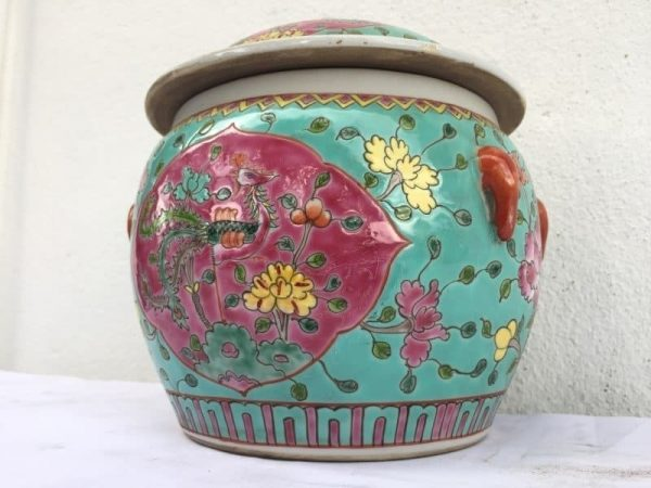 GREEN & PINK 210mm Covered Jar Kamcheng Peranakan Baba Nyonya Porcelain Asian Art