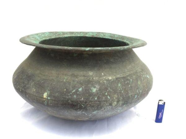 MEGA SIZE 470mm LARGE Antique Copper Cooking Pot Bowl Kitchen Asian Asia