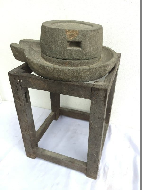 ANTIQUE 420mm STONE GRINDER Grind Primitive Asian Traditional Tool Soya Bean Rice