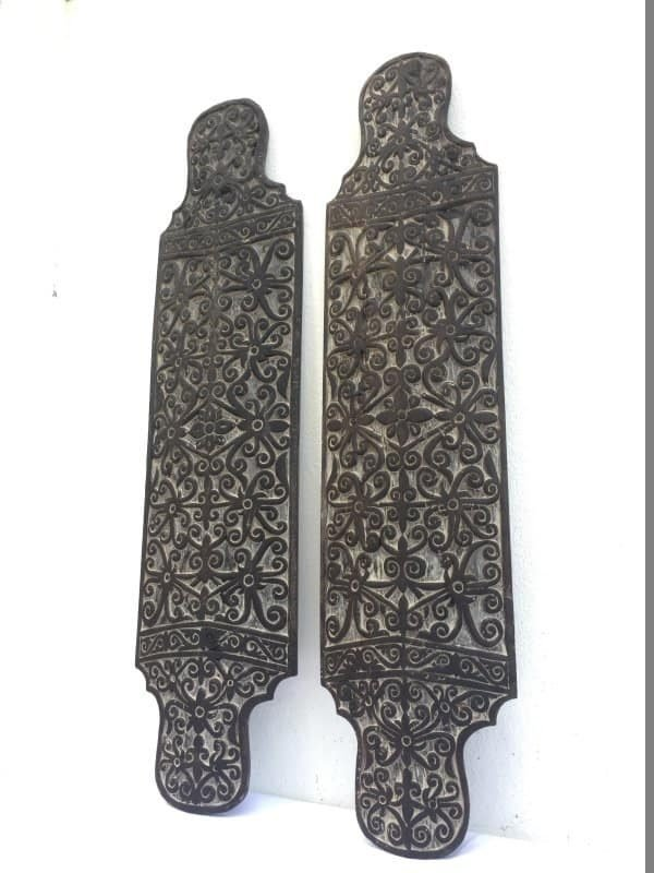 GORGEOUS PAIR 970mm Tribal Shield Of Borneo Armor Guard Wood Carving Wall Deco Office Home