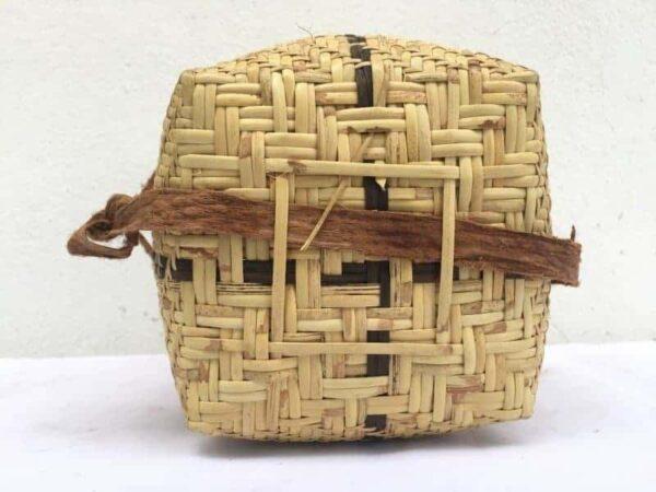 TRAVEL ASIA 270mm BASKET Rattan & Treebark Traditional Fiber Art Sling Bag Backpack Tribal Weaving