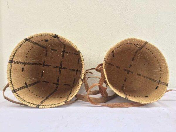 ONE PAIR 270mm Asian Craft BASKET Art Rattan & Treebark Traditional Fiber Art Sling Bag Backpack
