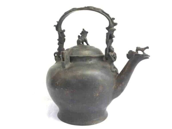 ASIAN 9.2 lb ANTIQUE KETTLE Teko Pot Teakettle Kitchen Brass Ware Drinkware